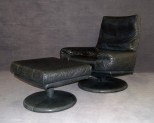Black Leather Swivel Chair by Rolf Benz
