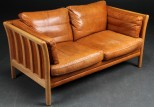Danish Leather Sofa in Light Tan