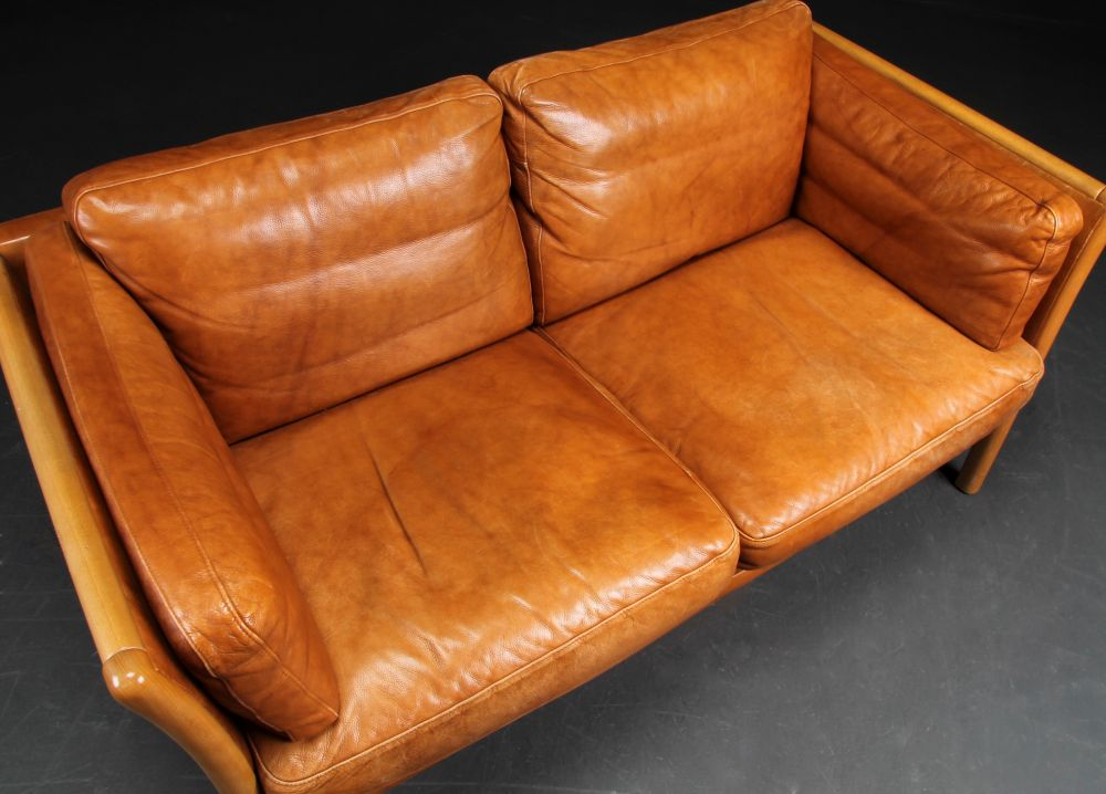 Danish Leather Sofa In Light Tan Seating Apollo Antiques