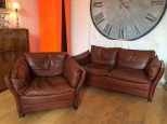 Italian Leather Sofa and Armchair Suite, Great Colour