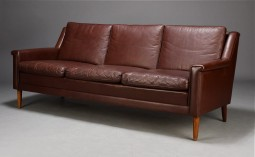 Danish Sofa in Brown Leather, 1950s in Style