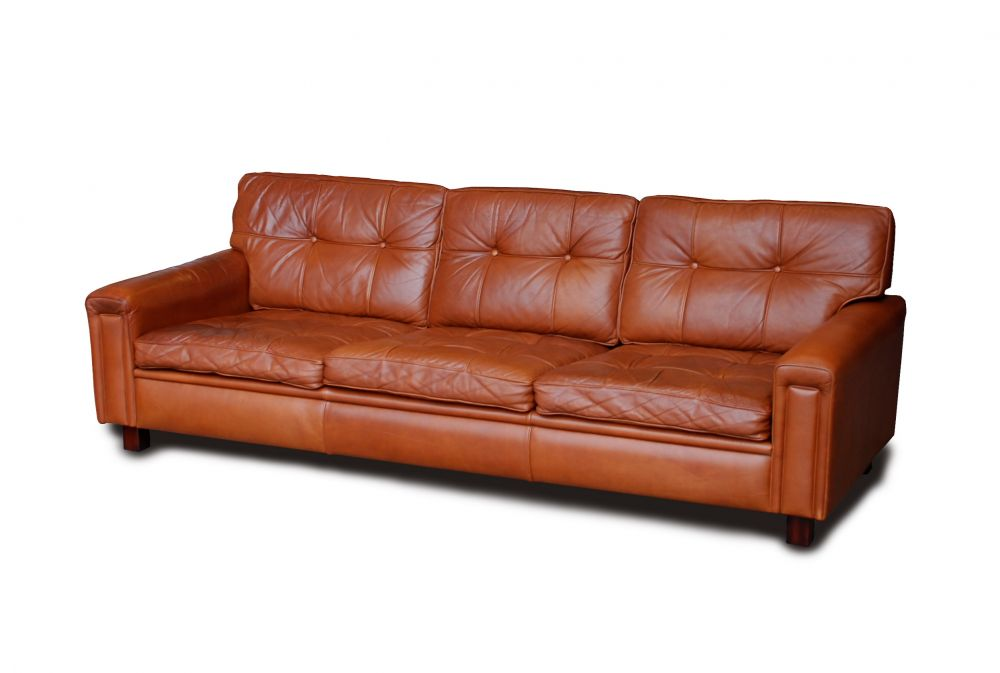 Large Arne Norell Leather Sofa Great Tan Colour Seating
