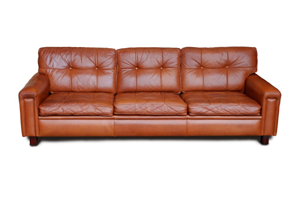 Large Arne Norell Leather Sofa Great Tan Colour Seating Apollo