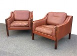 Pair of Danish Leather Armchairs by Erik Jorgensen
