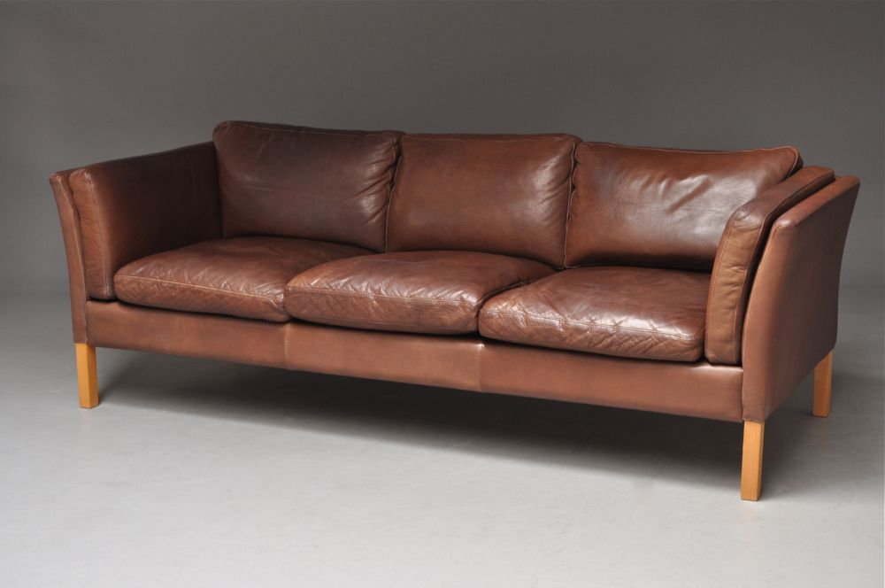 Danish Mogensen Style Leather Sofa Good Colour Seating