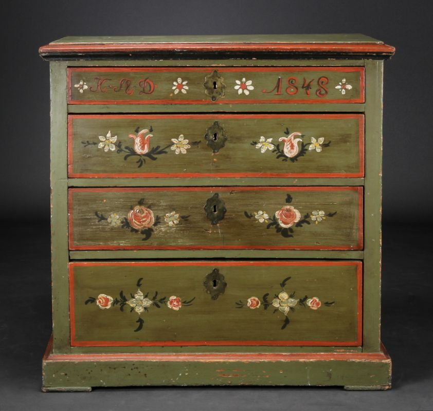Scandinavian Painted Marriage Chest Of Drawers Cabinets