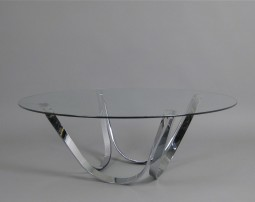 Coffee Table in Glass and Chrome by Roger Sprunger