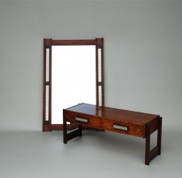 Danish Rosewood Console Table with Matching Mirror