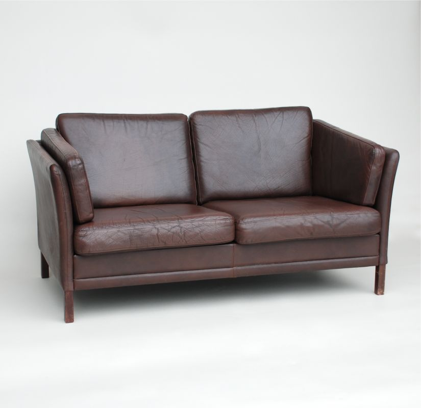 Small Danish Dark Brown Leather Sofa Seating Apollo