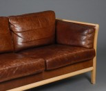 Danish Mogensen Style Leather Sofa, Fantastic Colour