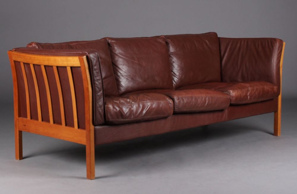 Danish Mogensen Style Leather Sofa, Great Colour ...