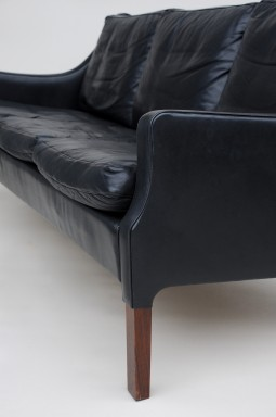 Stylish Danish Black Leather Sofa by Rud Thygesen
