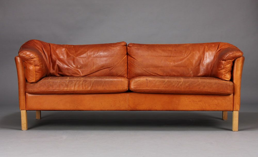 ... Danish Leather Sofa By Mogens Hansen ...