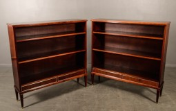 Pair of Mahogany Open Bookcases with Drawers