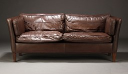 Pair of Danish Mogensen Style Leather Sofas, Suite