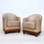 Pair of Classic Art Deco Leather Tub Armchairs 1930s