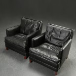 Pair of Stylish Danish Black Leather Armchairs