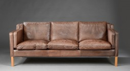 Danish Leather Sofa by Stouby, Mogensen Style, Great Colour