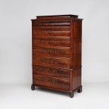 Antique Scandinavian Mahogany Tall Chest of Drawers