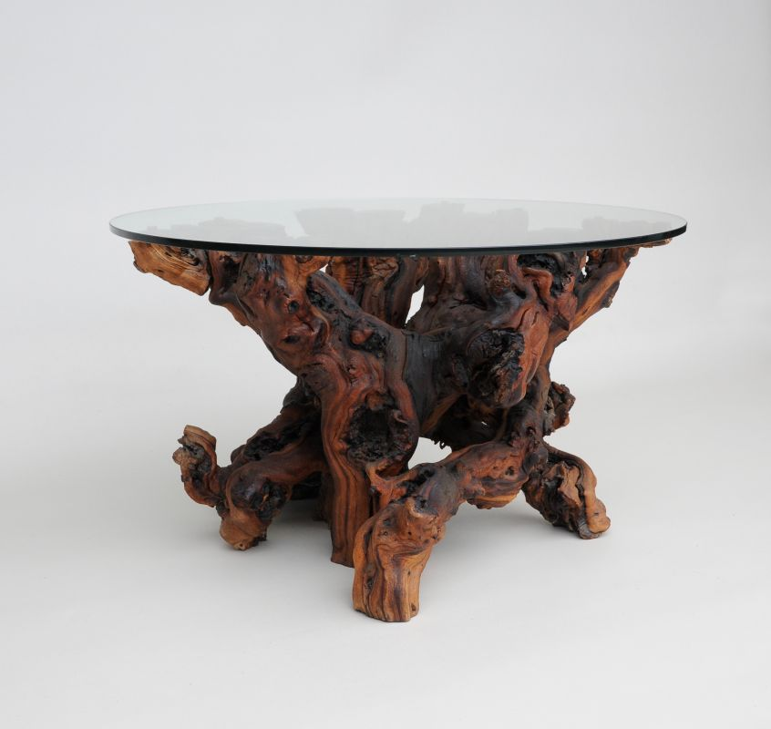 Yew Glass Topped Coffee Table: Unusual Yew Root Coffee Table : Tables And Desks : Apollo