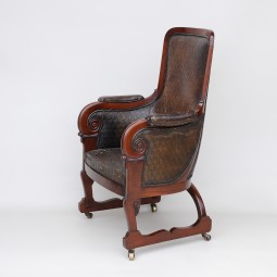 Antique Library/Club Armchair in Leather and Mahogany