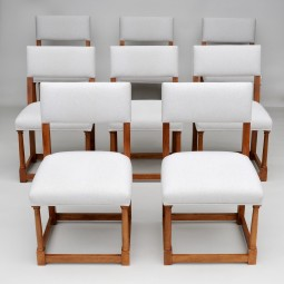 Set of Eight Antique Upholstered Dining Chairs in Walnut