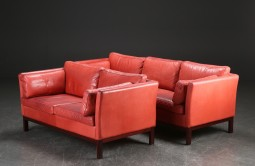 Pair Danish Leather Sofas, Mogensen Style, Great Red Colour