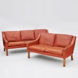 Pair of Classic Danish Leather Sofas, Feather Cushions