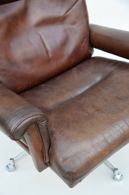Pair of Leather Swivel Chairs/Armchairs