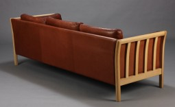 Danish Leather Sofa with Slated Sides