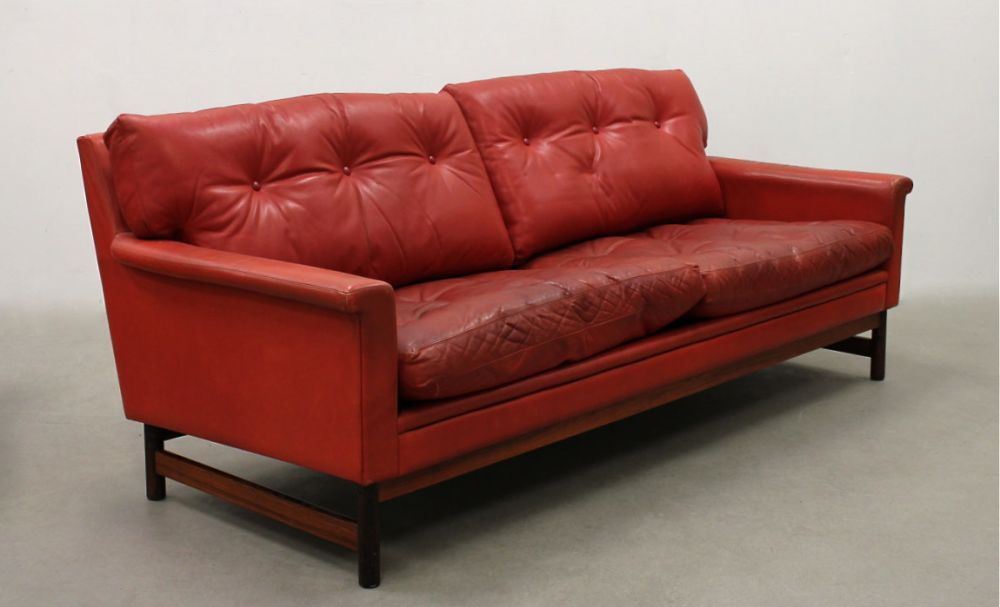 Small Red Leather Sofa And Armchair Seating Apollo