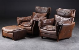 Pair of Italian Leather Armchairs and Stool