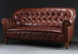 Late 19th Century Button-Back Leather Sofa
