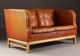 Danish Leather Sofa with High Sides