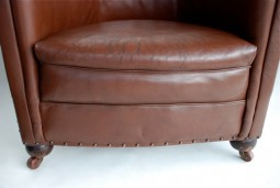 Pair of 1930s Leather Tub Armchairs