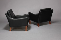 Pair of Danish Black Leather Armchairs