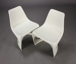 Set of Six White Chairs by Steen Ostergraad