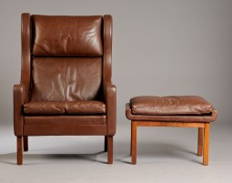 Mogensen Style Leather Armchair with Stool