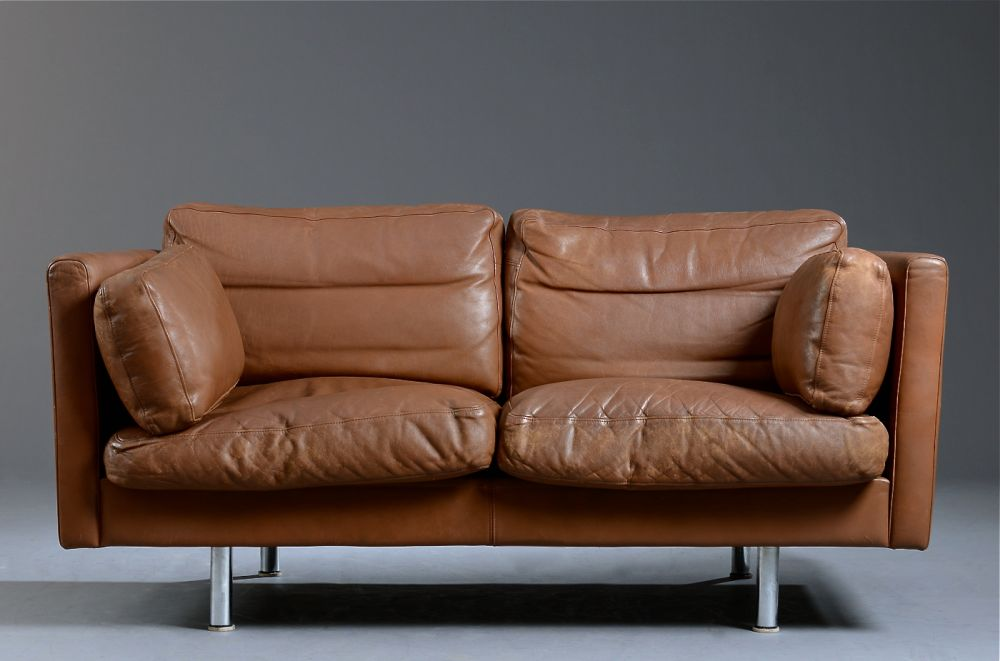 Small Danish Brown Leather Sofa Seating Apollo Antiques