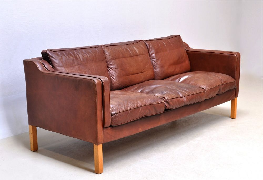 tan leather sofa from denmark