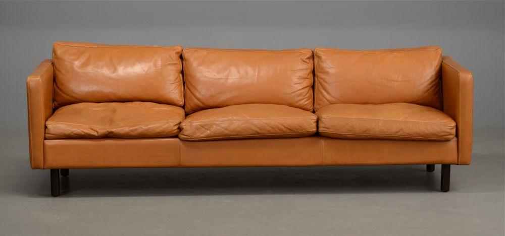 Long Danish Leather Sofa In Light Tan