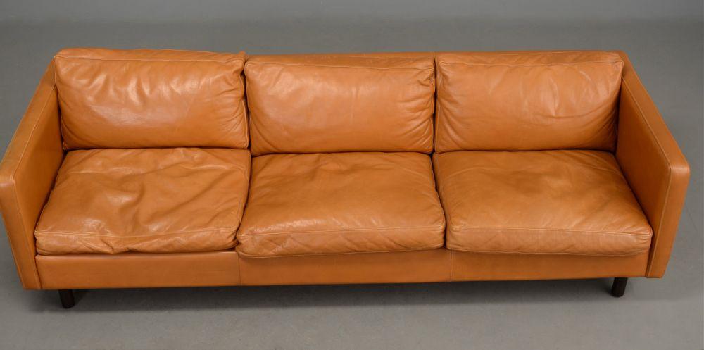 Long Danish Leather Sofa In Light Tan Seating Apollo