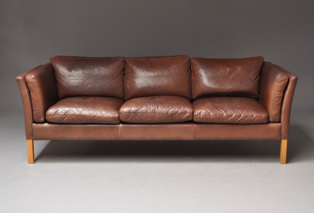 Danish Mogensen Style Leather Sofa Good Colour