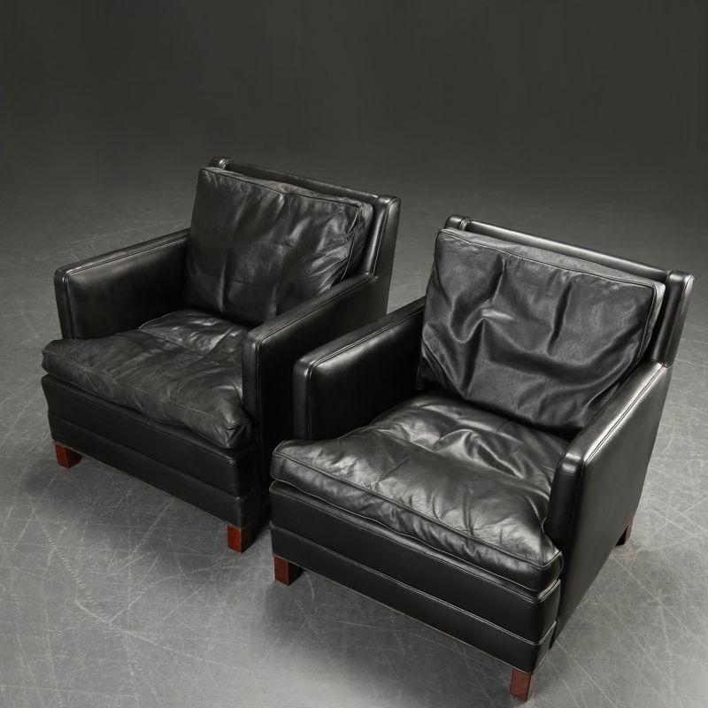 Pair Of Stylish Danish Black Leather Armchairs