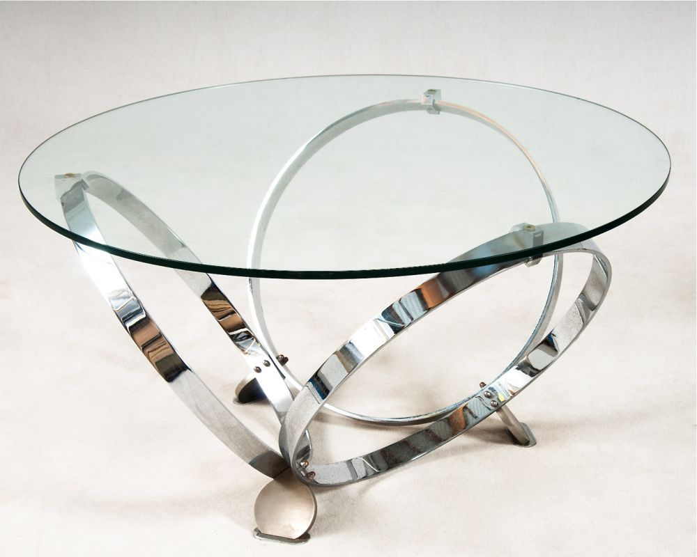 german round coffee table in glass and chrome tables and desks apollo antiques. Black Bedroom Furniture Sets. Home Design Ideas