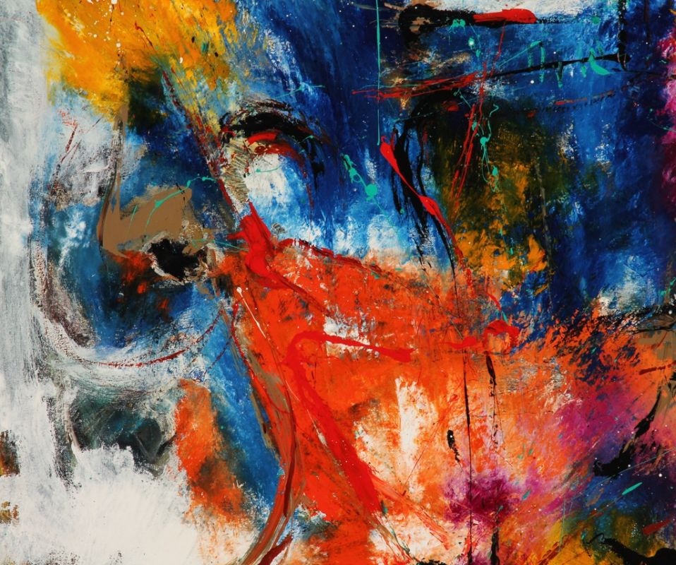 Danish Artist Per Eli Large Abstract Painting Art