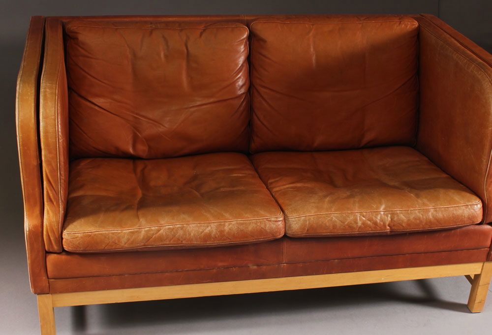 Danish Leather Sofa With High Sides Seating Apollo